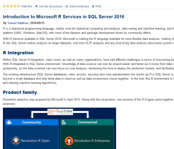 R and SQL Server articles | TomazTsql