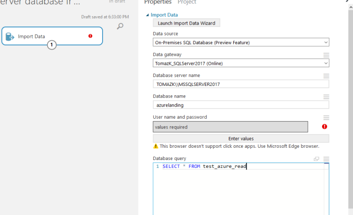 Connecting Azure Machine Learning studio with on-premises SQL
